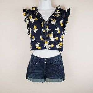 J by Joa Floral Crop Top Size Large